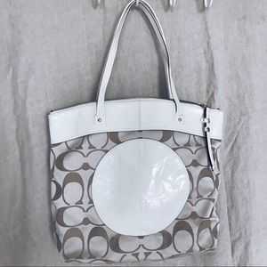 White Coach tote with leather center detail